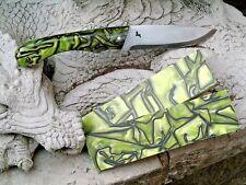 "KIRINITE: Toxic green 3/8"" 6""x1.5"" Scales for knife making woodworking Bushcraft"