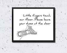 8 x 10in SHOES OFF SIGN front door little fingers cute modern wall art print
