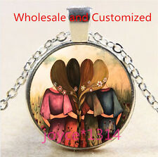 Best Four Sisters Cabochon Tibetan silver Glass Chain Pendant Necklace #4675