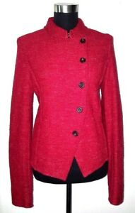 Free People Mandarin Collar Knit Military Style Suit Jacket Sz M Red Wool Linen