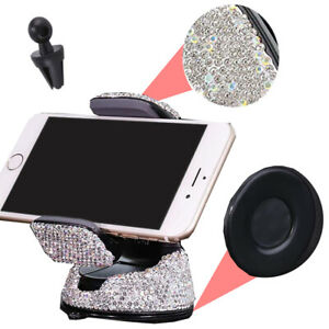 White Rhinestone Phone Holder Clip W/Suction Cup Fit Window Air Vent Euro
