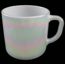 White Rainbow Irdescent Pink and Blue Pearl Federal Glass Coffee Mug Tea Cup USA