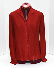 Liz Claiborne Women's Career Blouse Top 8 Button Down Long Sleeve Semi Sheer Red