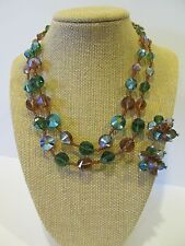 Vintage RARE Vendome Bicone AB Crystal Earrings and Necklace EVC!  Stunning!