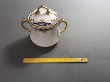 Ancien sucrier en porcelaine de LIMOGES contour doré déco fleurs old sugar pot