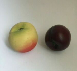 Faux Fruit Life Size Ceramic Resin Realistic Peach and Plum Kitchen Decor