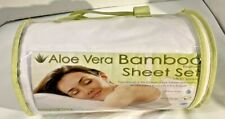 Bamboo Comfort Aloe Vera Infused Queen sheet, Fitted Sheet, 2 pillow Cases White