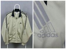 Mens Vintage Adidas Track Top Jacket 90s Size D6 Beige