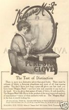 Antique NIAGRA MAID Mills Pure Silk Gloves FASHION Pretty Girl Vanity Mirror AD