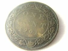 1901 CANADA ONE CENT-VICTORIA DEI GRATIA REGINA  COIN ...#21.6/98