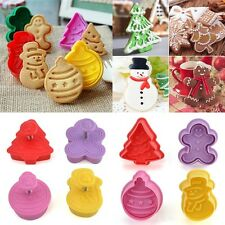 New Xmas Fondant Cake Cupcake Decor Cookie Biscuit Plunger Cutter Mold Tools Set