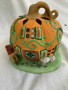 Retired PartyLite Pumpkin Patch House Tealight Candle Holder for Halloween/Fall