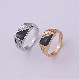 Men Crystal Diamonds Titanium Alloy Rings Gold White Gold Band Biker Jewelry