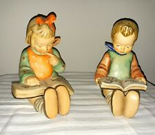 Antique Vintage Hummel Goebel Germany 14A & 14B Reading Boy and Girl Bookends