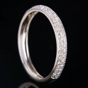 Pave.2ct Wedding Anniversary Band Fine Ring Solid 14k Yellow Gold Real Diamonds