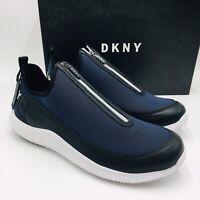 DKNY Men's Seb Leather Logo Slip-On Zipper Sneakers Navy, MSRP $110 NEW