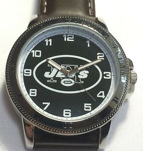 New York Jets Sparo Classic Men's Sports Watch with Brown Leather Band