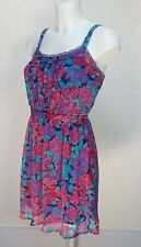 GAP floral sheer chiffon Blue Pink strappy Frill top Mini flare sundress S 8/10