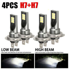 Combo LED Mini H7 + H7 Headlight Kit Bulb High Low Beam 240W 60000LM 6000K NEW J