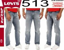 $79 NWT NEW Men's Levi's 513 Slim Straight Fit 085130700 Jeans Destroyed 511 514