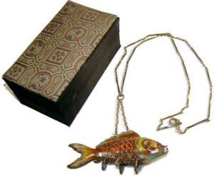 Antique Chinese Gilt Silver Articulated Orange Cloisonne Koi Fish Pendant w/ Box