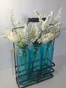 Vintage Farmhouse Country Farmhouse Flower Vases 3 Glass Bottles in Metal Tray