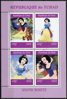 Chad 2019 CTO Snow White 4v M/S Disney Cartoons Animation Stamps
