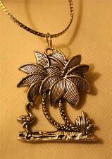 Etch Detailed Palm Tree Flamingo Tropical Vacation Pendant Silvertone Necklace