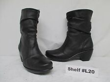 NAOT Black Leather Zip Mid-Calf Slouch Boots Size 41 EUR