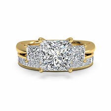 Princess Cut 2.60 Ct Diamond Wedding Band Real 14K Yellow Gold Size 7 D35Fgd