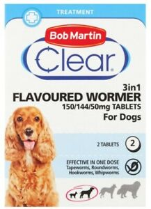 Bob Martin 3in1 Clear Wormer Tablets For DOGS 150/144/50mg Tablets