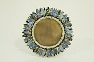 Jay Strongwater Enameled Jeweled Blue Sunflower Round Picture Frame #5288
