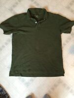 Eddie Bauer Mens Olive Green Short Slv Pique Polo Shirt size medium 100% Cotton