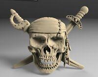 3D STL Model PIRATE SKULL for CNC Router 3D Print Engraver Carving Aspire Artcam