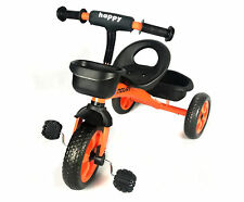 CHILDS PEDAL TRIKE - Orange - Adjustable Seat Front & Rear Baskets 2 - 5 Years