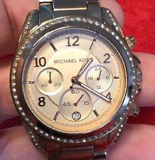 USED-Working! Michael Kors Blair Glitz MK5263 Wrist Watch for Women CZ Stones NR