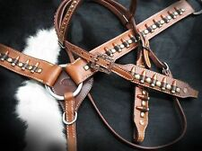 """Showman """" Ammo Belt """" Leather Bridle & Breast Collar Set! NEW HORSE TACK!"""