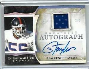 2020 LAWRENCE TAYLOR LEAF ITG IN THE GAME USED SPORTS JERSEY AUTO #ED 2/2!!