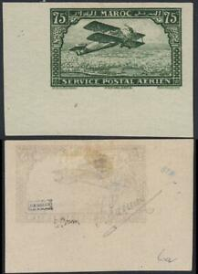 Morocco 1922 PLANE over CASABLANCA imperforated w/MARGIN (SIGNED) SC#C5a MHH