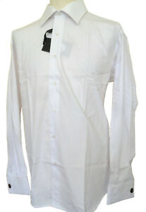 Men's Plain White Shirt Long Sleeve Double Cuff Slim Fit Size XXL Claudio Lugli