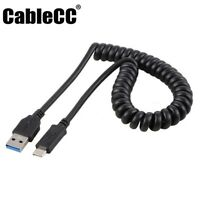 Cablecc USB 3.0 A Male to Stretch USB-C USB 3.1 Type C Data Charge Cable 100cm