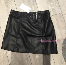 Black Zara Faux Leather Mini Skirt Medium M 10 New BNWT