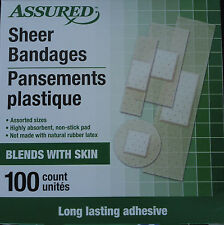 SHEER ADHESIVE BANDAGES Assorted Sizes Non-Stick Pad Latex Free 100 Ct/Box