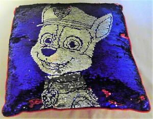 """Paw patrol sequin reversible billow chase marchal 19"""" red blue dog puppy a86"""