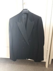 Austin reed Vintage Black Double Breasted Wool Mix Jacket Chest 42