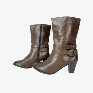 CLARKS Ladies Womens Boots Size UK 7 Eu 40 Brown Leather Midcalf Boots