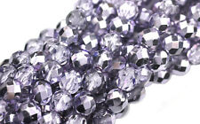 10 Purple Metallic Faceted Fire Polished Round Glass Beads 8Mm