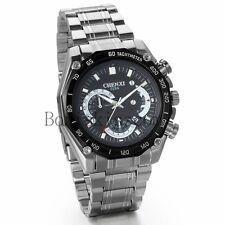 Mechanical Style Business Men's Stainless Steel Date Analog Quartz Wrist Watch