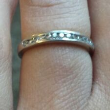 Cubic Zirconia Half-Eternity Band 18ct White Gold, size J