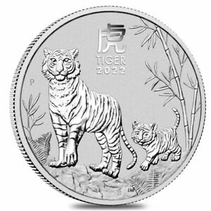 2022 1 oz Silver Lunar Year of The Tiger BU Australian Perth Mint In Cap